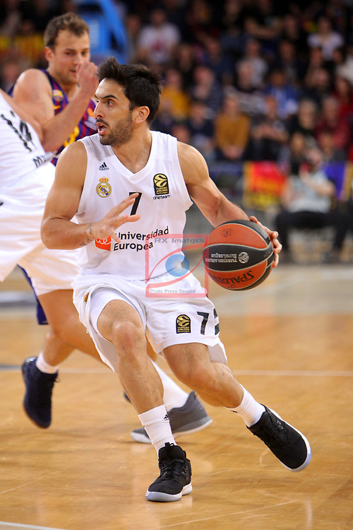 Turkish Airlines Euroleague 2018/2019. <br /> Regular Season-Round 24.<br /> FC Barcelona Lassa vs R. Madrid: 77-70. <br /> Facundo Campazzo.