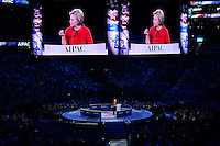 Washington, DC - March 21, 2016: 2016 Democratic presidential candidate Hillary Clinton speaks before attendees of the AIPAC Policy Conference at the Verizon Center in the District of Columbia, March 21, 2016. AIPAC is engaged in promoting and protecting the U.S.-Israel relationship to enhance security for both countries. (Photo by Don Baxter/Media Images International)