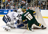 Jimmy Martin (Yale - 2), Alec Richards (Yale - 33), Viktor Stalberg (Vermont - 18) - The University of Vermont Catamounts defeated the Yale University Bulldogs 4-1 in their NCAA East Regional Semi-Final match on Friday, March 27, 2009, at the Bridgeport Arena at Harbor Yard in Bridgeport, Connecticut.
