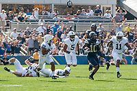 Pitt wide receiver Quadree Henderson breaks loose on a run. The Pitt Panthers defeated the Penn State Nittany Lions 42-39 at Heinz Field, Pittsburgh, Pennsylvania on September 10, 2016.