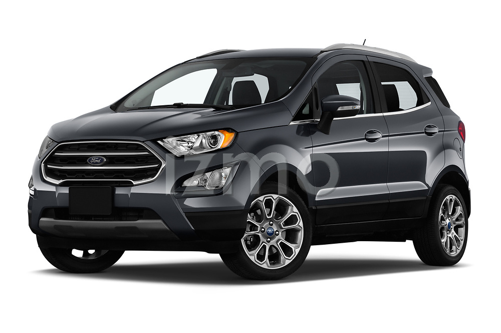 Stock pictures of low aggressive front three quarter view of a 2018 Ford Ecosport Titanium 5 Door SUV