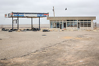 Abandoned Gas Station off the I 40 exit to the old Route 66 Ghost town of Glenrio Texas.