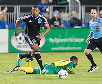SANTA CLARA, CA - Saturday July 20, 2013: San Jose Earthquakes vs Norwich City F.C. Canaries match in Buck Shaw Stadium in Santa Clara, CA. Final score SJ Earthquakes 1, Norwich City F.C. Canaries 0.
