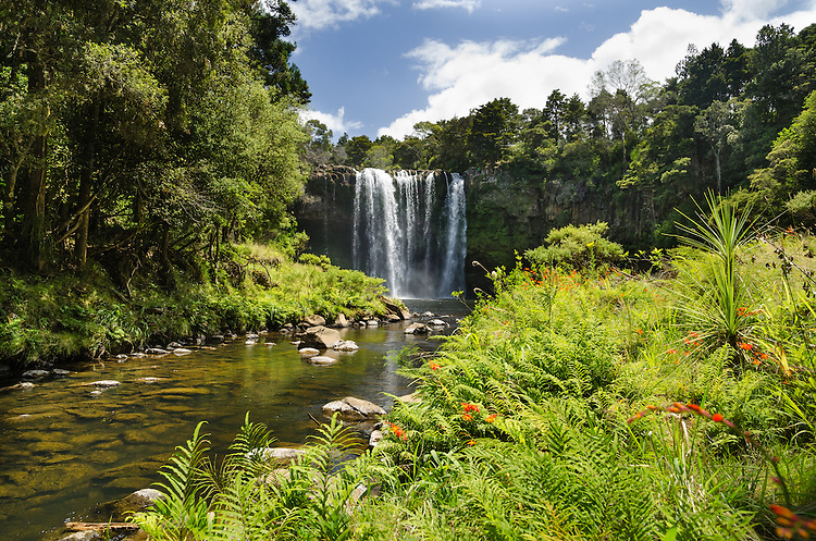 Rainbow Falls, Kerikeri, Bay of Islands, New Zealand - stock photo, canvas, fine art print