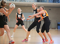 14.10.2016 Silver Ferns Katrina Grant and Gina Crampton in action at the Silver Ferns training at the Auckland Netball Centre in Auckland. Mandatory Photo Credit ©Michael Bradley.