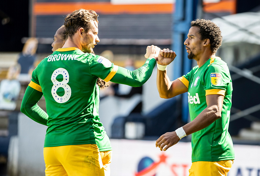 Preston North End's Scott Sinclair (right) celebrates scoring his side's first goal with team mate Alan Browne  <br /> <br /> Photographer Andrew Kearns/CameraSport<br /> <br /> The EFL Sky Bet Championship - Luton Town v Preston North End - Saturday 20th June 2020 - Kenilworth Road - Luton<br /> <br /> World Copyright © 2020 CameraSport. All rights reserved. 43 Linden Ave. Countesthorpe. Leicester. England. LE8 5PG - Tel: +44 (0) 116 277 4147 - admin@camerasport.com - www.camerasport.com