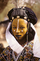 Akadaney, Niger, Africa - Fulani Wodaabe Dancer at Geerewol.  A participant in what westerners often call the male beauty contest, in which dancers attempt to appeal to the female spectators.