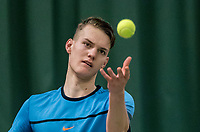 Wateringen, The Netherlands, March 16, 2018,  De Rhijenhof , NOJK 14/18 years, Nat. Junior Tennis Champ. Gijs Akkermans (NED)<br />  Photo: www.tennisimages.com/Henk Koster