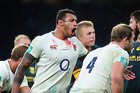 Courtney Lawes of England calls out at a lineout. Old Mutual Wealth Series International match between England and South Africa on November 12, 2016 at Twickenham Stadium in London, England. Photo by: Patrick Khachfe / Onside Images