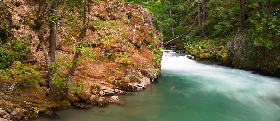 Ohanapecosh River flowing through canyon, Ohanapecosh Campground, Mount Rainier National Park, Lewis County, Washington, USA