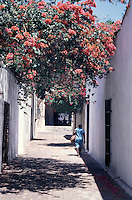 Woman walking down a narrow street i n old Santo Domingo, Dominican Republic. Santo Domingo's Zona Colonial was declared a UNESCO World heritage Site in 1990.
