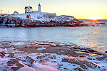 Sunrise at Nubble Light, Cape Neddick, York, ME, USA