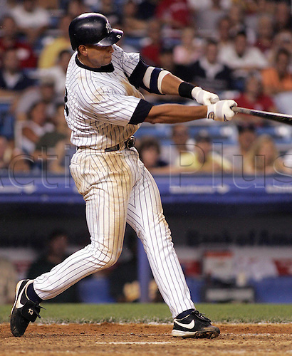 04 August 2004: Yankees Alex Rodriguez hits a game-winning homer in the 11th against Oakland  at Yankee Stadium. Yanks win 8-6. Photo: Jeff Zelevansky/Icon/actionplus...Baseball Major League MLB National League