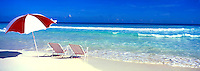 Graphic Panoramic of Lounge Chairs and Umbrella on the Beach in Paradise Island Bahama