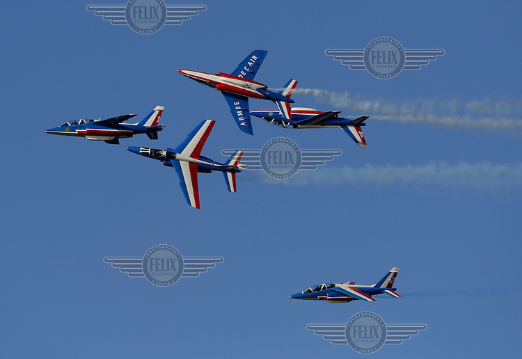 "Display team Patrouille Acrobatique de France perform over over Oslo as The Royal Norwegian Air Force celebrate ""100 years of airpower""."