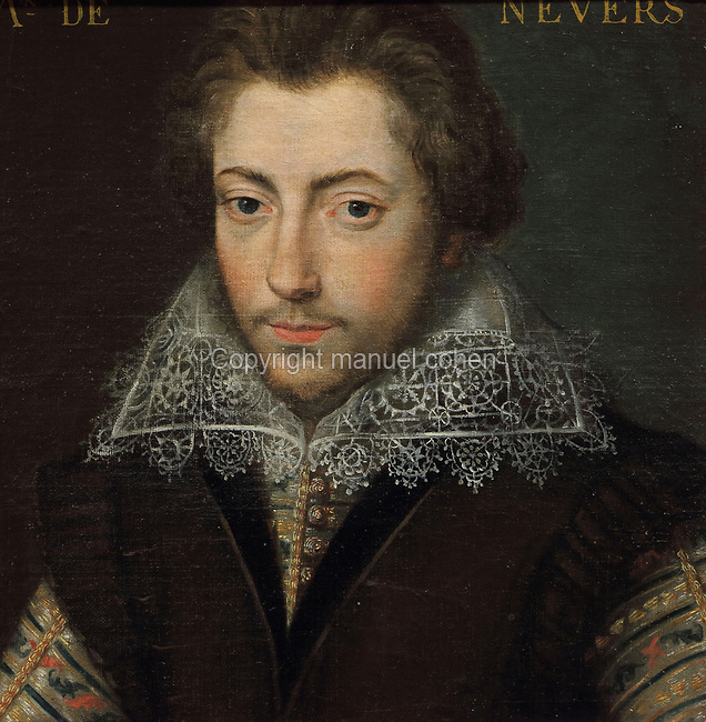 Portrait of M de Nevers, with a lace collar, oil painting on canvas, c. 1625, by unknown artist, from the Gallery of portraits from the Chateau de Saint Germain-Beaupre, Creuse, now in the Musee des Beaux-Arts de la Ville de Blois, housed since 1869 on the first floor of the Louis XII wing of the Chateau Royal de Blois, built 13th - 17th century in Blois in the Loire Valley, Loir-et-Cher, Centre, France. The museum originally opened in 1850 in the Francois I wing, but moved here in 1869 after the rooms had been restored by Felix Duban in 1861-66. The chateau has 564 rooms and 75 staircases and is listed as a historic monument and UNESCO World Heritage Site. Picture by Manuel Cohen