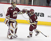 Cory Schneider 1 of Boston College and Nathan Gerbe 9 of Boston College celebrate Gerbe's goal which put BC up 1-0 over Wisconsin. The Boston College Eagles defeated the University of Wisconsin Badgers 3-0 on Friday, October 27, 2006, at the Kohl Center in Madison, Wisconsin in their first meeting since the 2006 Frozen Four Final which Wisconsin won 2-1 to take the national championship.<br />