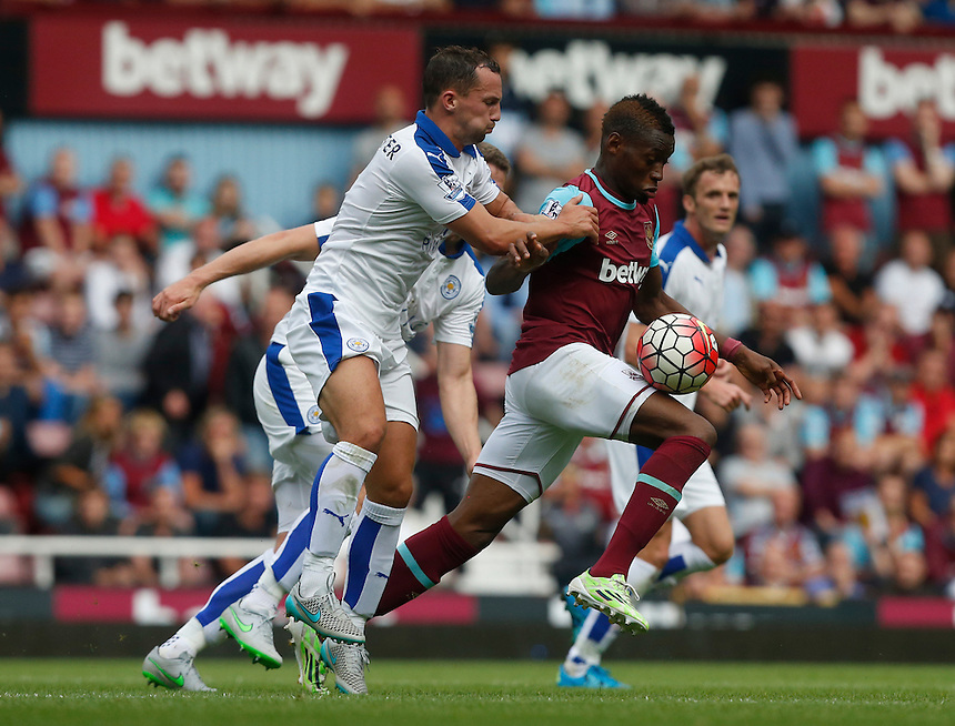 West Ham United's Pedro Mba Obiang in action during todays match  <br /> Photographer Kieran Galvin/CameraSport<br /> <br /> Football - Barclays Premiership - West Ham United v Leicester City - Saturday 15th August 2015 - Boleyn Ground - London<br /> <br /> &copy; CameraSport - 43 Linden Ave. Countesthorpe. Leicester. England. LE8 5PG - Tel: +44 (0) 116 277 4147 - admin@camerasport.com - www.camerasport.com