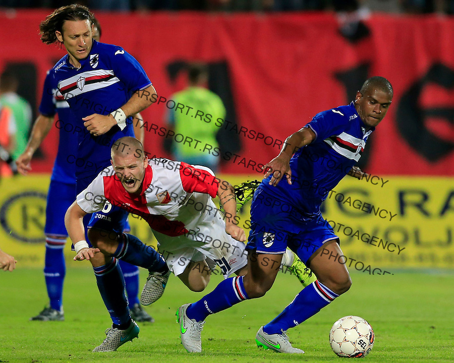 Fudbal UEFA Europa League season 2014-2015<br /> Second qualifying round, Second leg<br /> Vojvodina v Samdoria<br /> Ognjen Ozegovic (C) Edgar Barreto (L) and Fernando (R)<br /> Novi Sad, 05.08.2015.<br /> foto: Srdjan Stevanovic/Starsportphoto &copy;