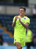 Goalscorer Sammie Szmodics of Colchester United applauds the support during the Sky Bet League 2 match between Wycombe Wanderers and Colchester United at Adams Park, High Wycombe, England on 27 August 2016. Photo by Andy Rowland.