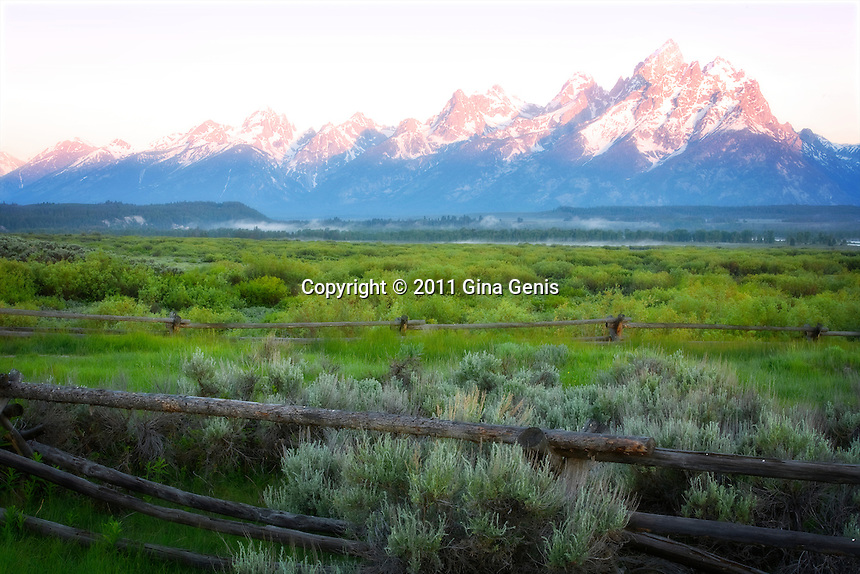 View from Cunningham Cabin at Dawn, Grand Tetons photographed by Gina Genis