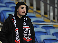 A Bolton Wanderers fan looks dejected after his sides defeat<br /> <br /> Photographer Kevin Barnes/CameraSport<br /> <br /> The EFL Sky Bet Championship - Cardiff City v Bolton Wanderers - Tuesday 13th February 2018 - Cardiff City Stadium - Cardiff<br /> <br /> World Copyright &copy; 2018 CameraSport. All rights reserved. 43 Linden Ave. Countesthorpe. Leicester. England. LE8 5PG - Tel: +44 (0) 116 277 4147 - admin@camerasport.com - www.camerasport.com