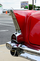 USA, New Jersey, Wildwood, parade of classic cars, tailfin of GM General Motors Chevrolet Bel Air at parking place of Motel Rusmar at Ocean Ave, could be in Havanna Cuba too