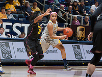 Brittany Boyd of California dribbles the ball during the game against Arizona State at Haas Pavilion in Berkeley, California on February 16th, 2014.  California defeated Arizona State, 74-63.