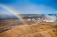 rainbow over actively erupting Halemaumau Crater, releasing vog - volcanic gas, Kilauea Caldera, Hawaii Volcanoes National Park, Kilauea, Big Island, Hawaii, USA