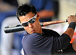 8 March 2011: New York Yankees' catcher Jose Gil takes a swing in the dugout during a Spring Training game against the Atlanta Braves at Champion Park in Orlando, Florida. The Yankees edged out the Braves 5-4 in Grapefruit League action. Mandatory Credit: Ed Wolfstein Photo