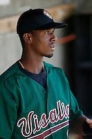 Pedro Ciriaco of the Visalia Oaks during a California League baseball game on April 9, 2007 at Stater Bros. Stadium in Adelanto, California. (Larry Goren/Four Seam Images)