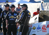 Apr 12, 2015; Las Vegas, NV, USA; NHRA funny car driver John Force (right) celebrates with his crew after winning the Summitracing.com Nationals at The Strip at Las Vegas Motor Speedway. Mandatory Credit: Mark J. Rebilas-