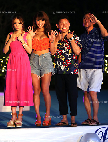 July 6, 2017, Tokyo, Japan - Japanese models Ikumi Hisamatsu (2nd L) and Mai (L) smile with comedian group Speedwagon, Jun Itoda (2nd R) and Kazuhiro Ozawa (R) as they attend an opening ceremony for a swimming pool of the Tokyo Prince hotel in Tokyo on Thursday, July 6, 2017. The hotel collaborate with female fashion magazine CanCam and will open a stylish hotel pool from July 8.     (Photo by Yoshio Tsunoda/AFLO) LwX -ytd-