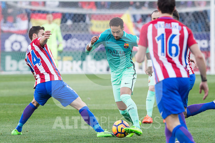 Neymar Santos Jr of Futbol Club Barcelona during the match of Spanish La Liga between Atletico de Madrid and Futbol Club Barcelona at Vicente Calderon Stadium in Madrid, Spain. February 26, 2017. (ALTERPHOTOS)
