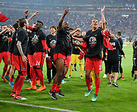 18.04.2018, Football DFB Pokal 2017/2018, semi final , FC Schalke 04 - Eintracht Frankfurt, in Veltins Arena auf Schalke.  celebration  Frankfurter.   re: Timothy Chandler (Eintracht Frankfurt). *** Local Caption *** © pixathlon<br /> <br /> Contact: +49-40-22 63 02 60 , info@pixathlon.de