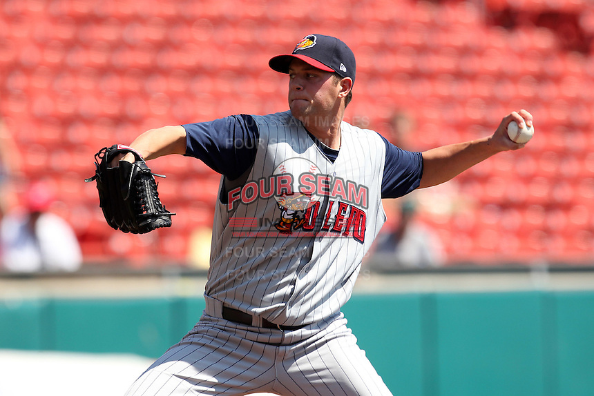 Toledo Mudhens starting pitcher Andrew Oliver #41 during a game against the Buffalo Bisons at Coca-Cola Field on August 17, 2011 in Buffalo, New York.  Buffalo defeated Toledo 4-2.  (Mike Janes/Four Seam Images)