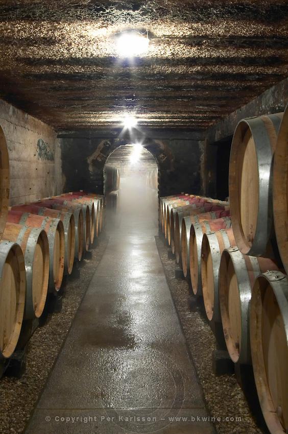 barrel cellar with mist from a humidifier domaine maillard chorey-les-beaune cote de beaune burgundy france
