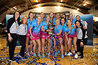 The Steel celebrate winning the ANZ Premiership netball grand final between the Central Pulse and Southern Steel at Arena Manawatu in Palmerston North, New Zealand on Sunday, 12 August 2018. Photo: Dave Lintott / lintottphoto.co.nz
