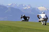 Scott Jamieson (SCO) and Nicolas Colsaerts (BEL) on the 7th green during Saturday's Round 3 of the 2018 Omega European Masters, held at the Golf Club Crans-Sur-Sierre, Crans Montana, Switzerland. 8th September 2018.<br /> Picture: Eoin Clarke | Golffile<br /> <br /> <br /> All photos usage must carry mandatory copyright credit (&copy; Golffile | Eoin Clarke)