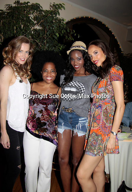 Models - Stephanie Voelckers, Shannone Holt, Valerie Roy pose with Another World Rhonda Ross who sings at Hearts of Gold - 45 A Different Kind of Fund Raiser on July 10, 2014 at Manhattan Penthouse, New York City, New Yor (Photo by Sue Coflin/Max Photos)