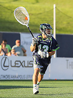 Annapolis, MD - July 7, 2018: Chesapeake Bayhawks Niko Amato (13) passes the ball during the game between New York Lizards and Chesapeake Bayhawks at Navy-Marine Corps Memorial Stadium in Annapolis, MD.   (Photo by Elliott Brown/Media Images International)