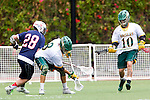 Orange, CA 05/16/15 - Josh Fagan (Concordia #10), Patrick Ryan (Dayton #28) and Dillon Bernad (Concordia #8) in action during the 2015 MCLA Division II Championship game between Dayton and Concordia, at Chapman University in Orange, California.