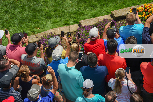 Avid golf fans attempt to capture cell phone images of Tiger Woods (USA) on the first tee during 3rd round of the World Golf Championships - Bridgestone Invitational, at the Firestone Country Club, Akron, Ohio. 8/4/2018.<br /> Picture: Golffile | Ken Murray<br /> <br /> <br /> All photo usage must carry mandatory copyright credit (© Golffile | Ken Murray)