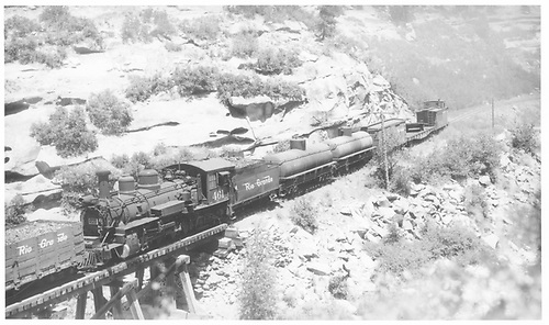 Northbound RGS 13-car freight crossing Bridge 158-B with helper #461 in RGS extra #41 in Wildcat Canyon.<br /> RGS  e. of Porter, CO  Taken by Perry, Otto C. - probably 6/20/1948