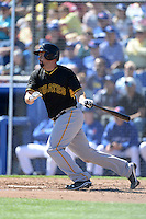 First baseman Gaby Sanchez (17) of the Pittsburgh Pirates during a spring training game against the Toronto Blue Jays on February 28, 2014 at Florida Auto Exchange Stadium in Dunedin, Florida.  Toronto defeated Pittsburgh 4-2.  (Mike Janes/Four Seam Images)