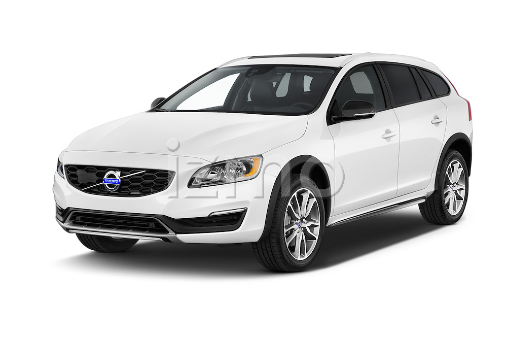 2017 Volvo V60 T5-Cross-Country 5 Door Wagon Angular Front stock photos of front three quarter view