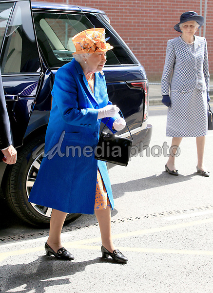 25 May 2017 - Queen Elizabeth II arrives for a visit to the Royal Manchester Children's Hospital to meet victims of the terror attack in the city earlier this week and to thank members of staff who treated them. Photo Credit: ALPR/AdMedia