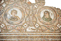 Roman mosaic depicting the Four Seasons (spring is destroyed). Late 3rd century AD, Thysdrus (El Jem). Roman mosaics from the north African Roman province of Africanus . Bardo Museum, Tunis, Tunisia.
