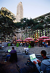 Bryant Park is a privately managed public park located in the New York City borough of Manhattan. It is located between Fifth and Sixth Avenues and between 40th and 42nd Streets in Midtown Manhattan and sits behind the New York Public Library.