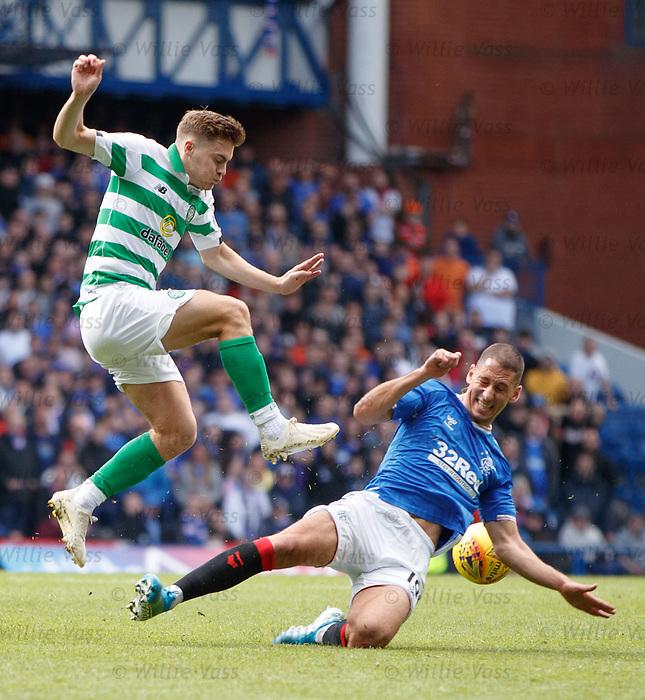01.09.2019 Rangers v Celtic: Nikola Katic and James Forrest